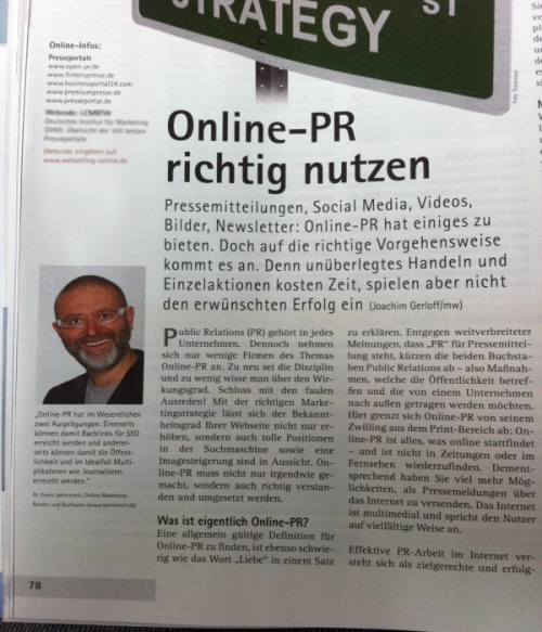 Online-PR richtig nutzen. Auszug aus Artikel Webselling.