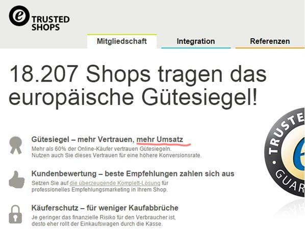Trusted Shops Versprechen auf Homepag 7.11.2014