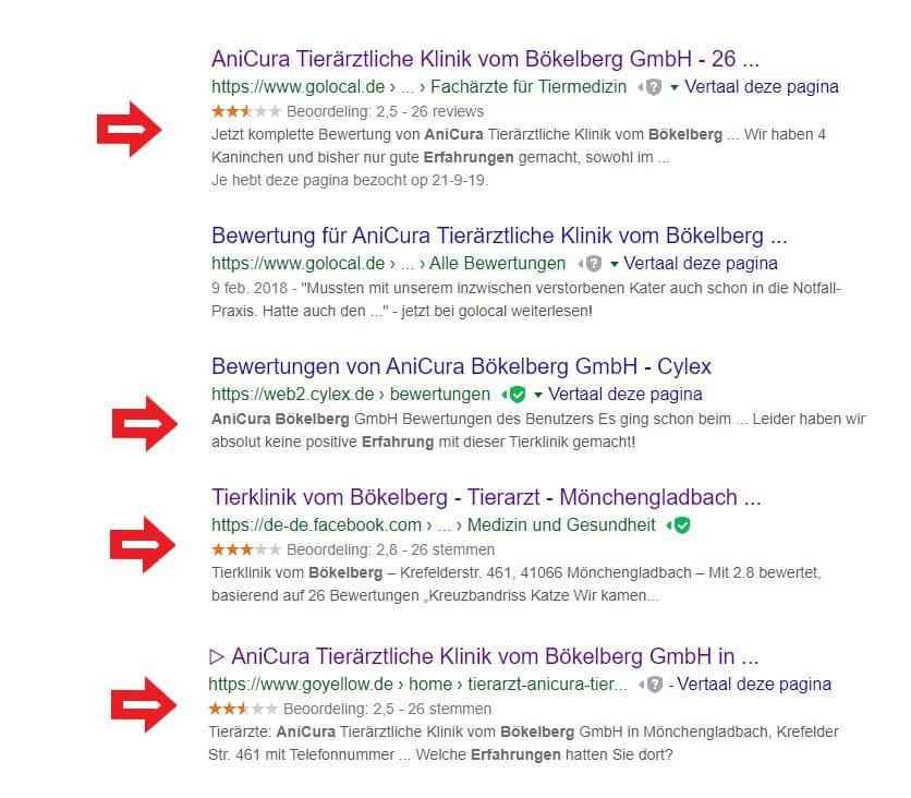 Bewertungen AniCura Tierklinik Bökelberg