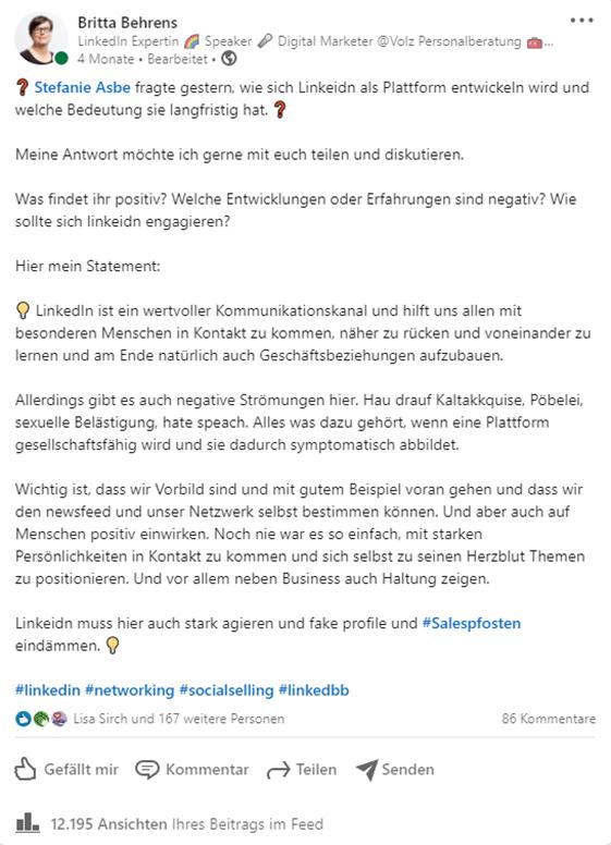 Text-Posting mit Markierung eines Netzwerkkontaktes in LinkedIn