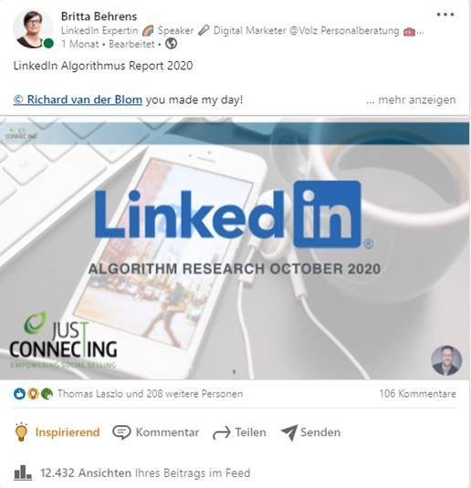 Dokumenten-Post LinkedIn Algorithmus Report 2020. Quelle: Britta Behrens, linkedin.com
